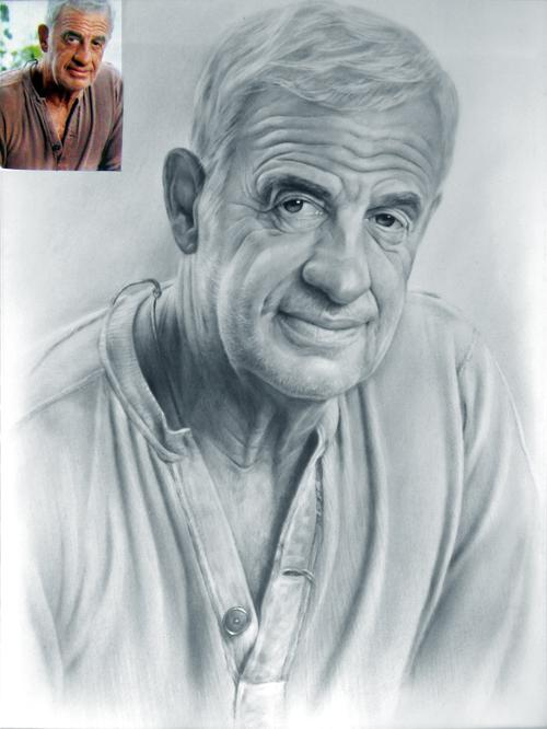 Рисунок мужской портрет исполнен